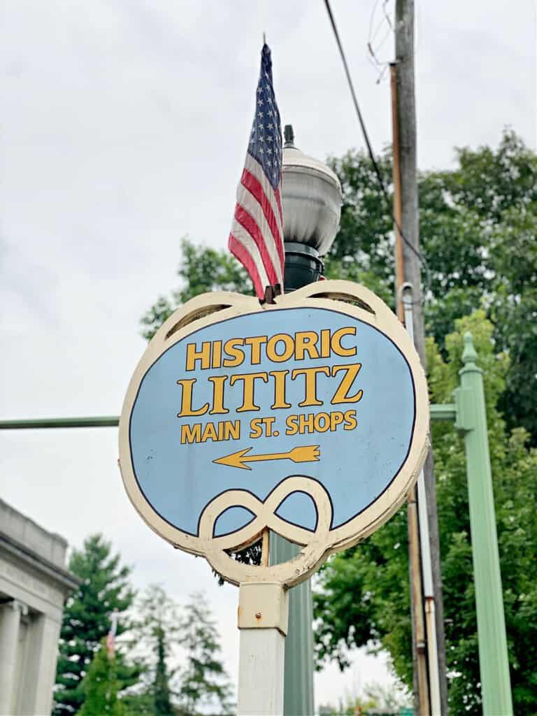 Historic Lititz Main St. Shops sign.