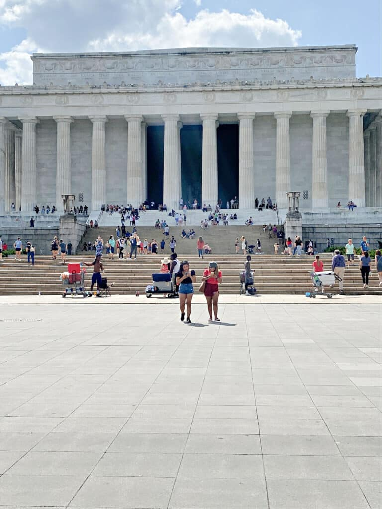 People in front of the Lincoln Memorial.