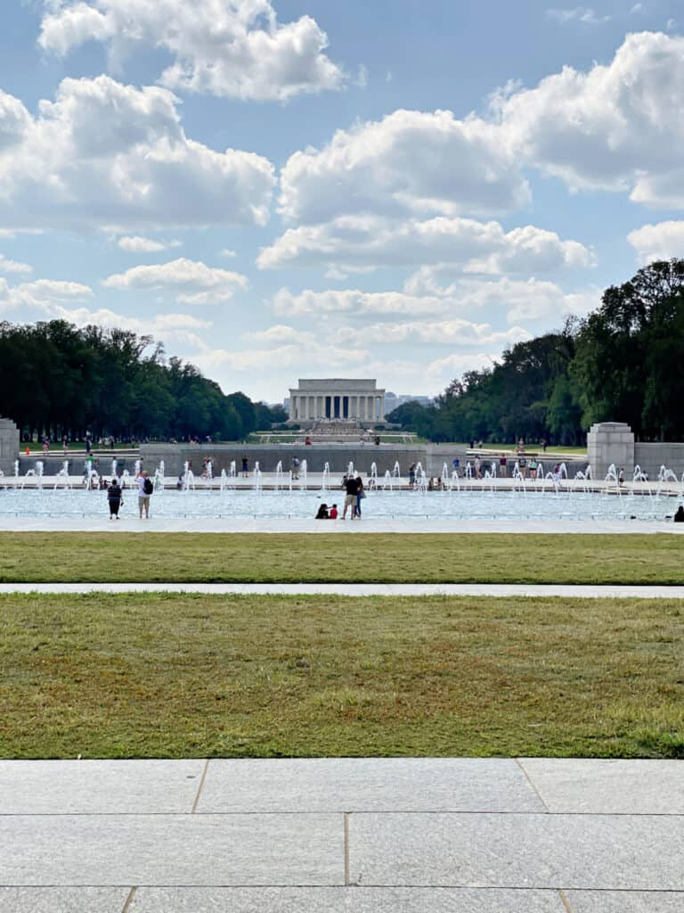 The reflecting pool in front of the Lincoln Memorial.