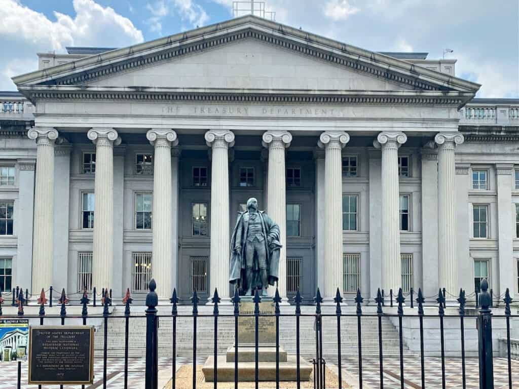 The United States Treasury Department building.