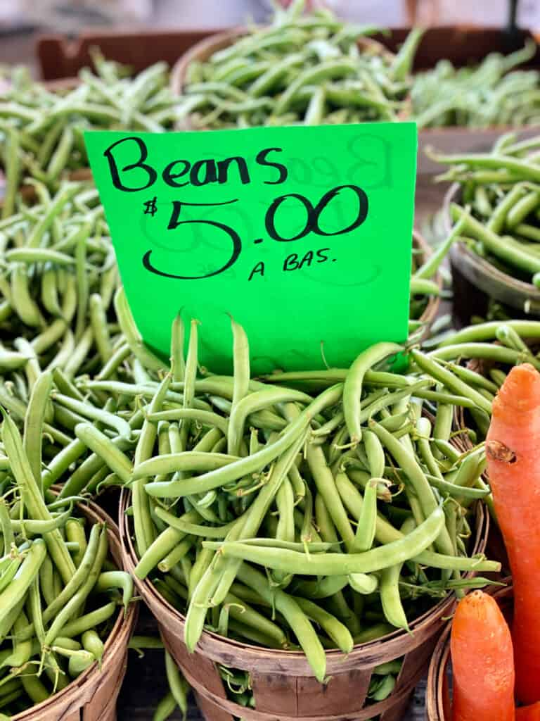 Green beans for sale at farmer's market.