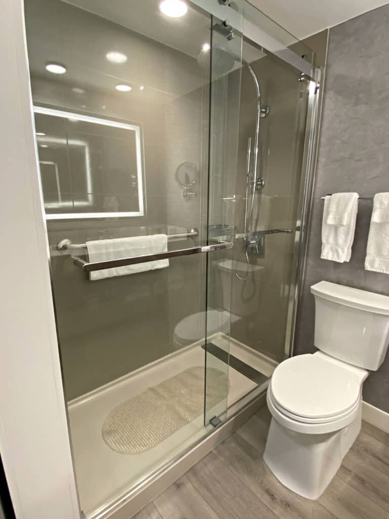 Glass shower stall by toilet.
